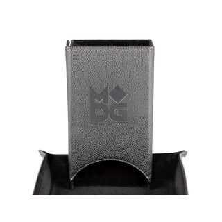 Fold Up Leather Dice Tower Black