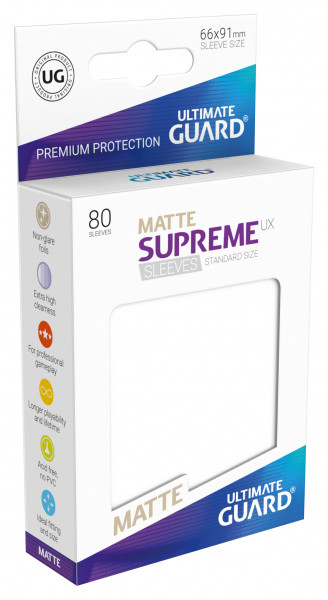 Supreme Sleeves Standard Size Matt UX White (80)
