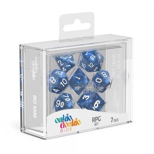 Oakie Doakie Dice Würfel RPG-Set Marble - Blau (7)