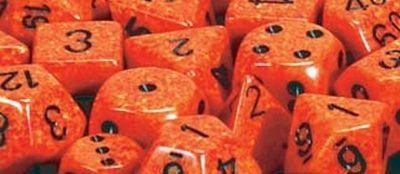 Speckled 16mm D6 Dice Blocks (12) Fire