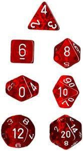 Red w/white Translucent Polyhedral 7-Die Sets