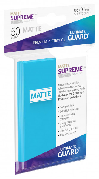Supreme Sleeves Standard Size Slim Matt UX Light Blue (50)