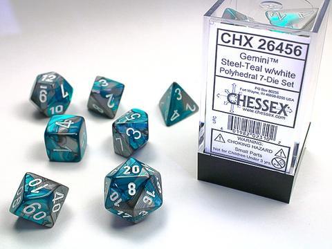 Steel-Teal w/white Gemini Polyhedral 7-Die Sets