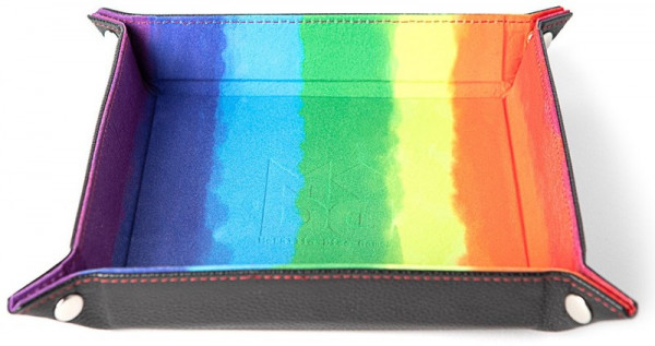 Velvet Folding Dice Tray with Leather Backing: 10`x10`Watercolor Rainbow