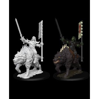 Pathfinder Deep Cuts Unpainted Miniatures: W7 Orc on Dire Wolf