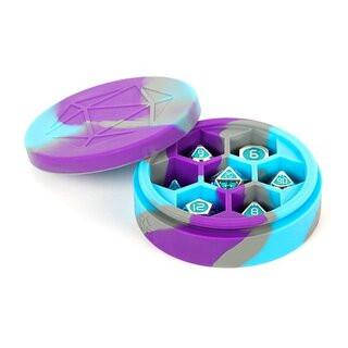 Silicone Round Dice Case Purple/Gray/Light Blue