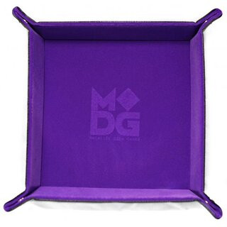 Velvet Folding Dice Tray 10x10 Purple with Leather Backing