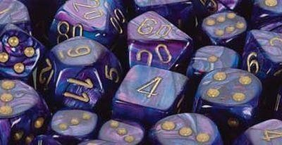 Lustrous Purple w/gold Signature Polyhedral 7-Die Sets