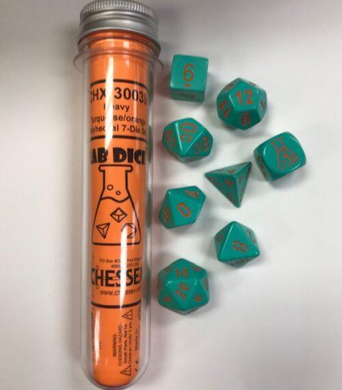 Heavy Dice Polyhedral Turquoise/orange 7-Die Sets