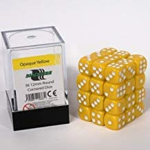Blackfire Dice Cube - 12mm D6 36 Dice Set - Opaque Yellow