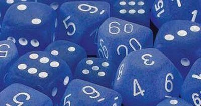Frosted Blue w/white Signature Polyhedral 7-Die Sets