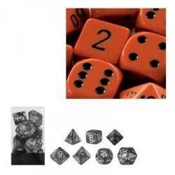 Orange w/black Opaque Polyhedral 7-Die Sets