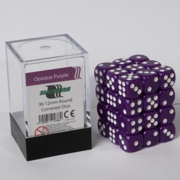 Blackfire Dice Cube - 12mm D6 36 Dice Set - Opaque Purple