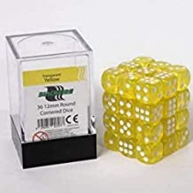 Blackfire Dice Cube - 12mm D6 36 Dice Set - Transparent Yellow