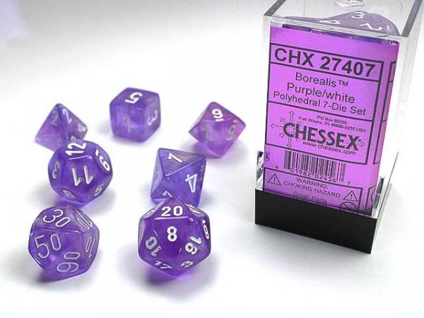 Borealis Purple w/white Signature Polyhedral 7-Die Sets