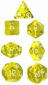 Yellow w/white Translucent Polyhedral 7-Die Sets