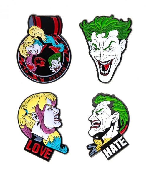 DC Comics Ansteck-Pin 4er-Pack Joker & Harley Quinn