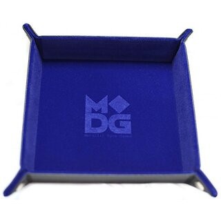 Velvet Folding Dice Tray 10x10 Blue with Leather Backing