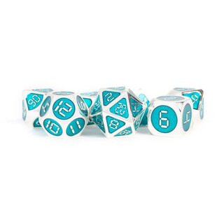 Digital Enamel Metal Dice Set, 16mm: Silver with Teal Enamel