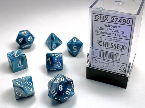 Lustrous Slate w/white Signature Polyhedral 7-Die Sets