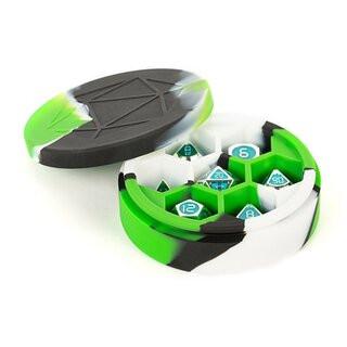 Silicone Round Dice Case Green/Black/White