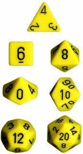 Yellow w/black Opaque Polyhedral 7-Die Sets