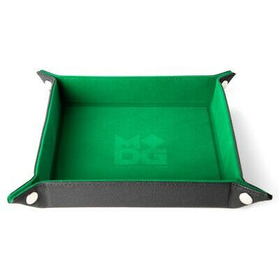 Velvet Folding Dice Tray 10x10 Green with Leather Backing