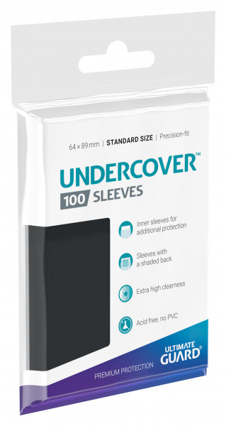 Undercover Sleeves Standard Size clear front and shaded back side (100)
