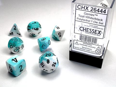 White-Teal w/black Gemini Polyhedral 7-Die Sets