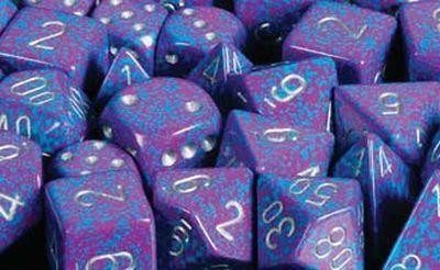 Silver Tetra Speckled Polyhedral 7-Die Sets